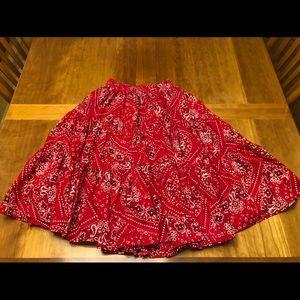 Rodeo riding skirt 26 in waist twirl bandana print